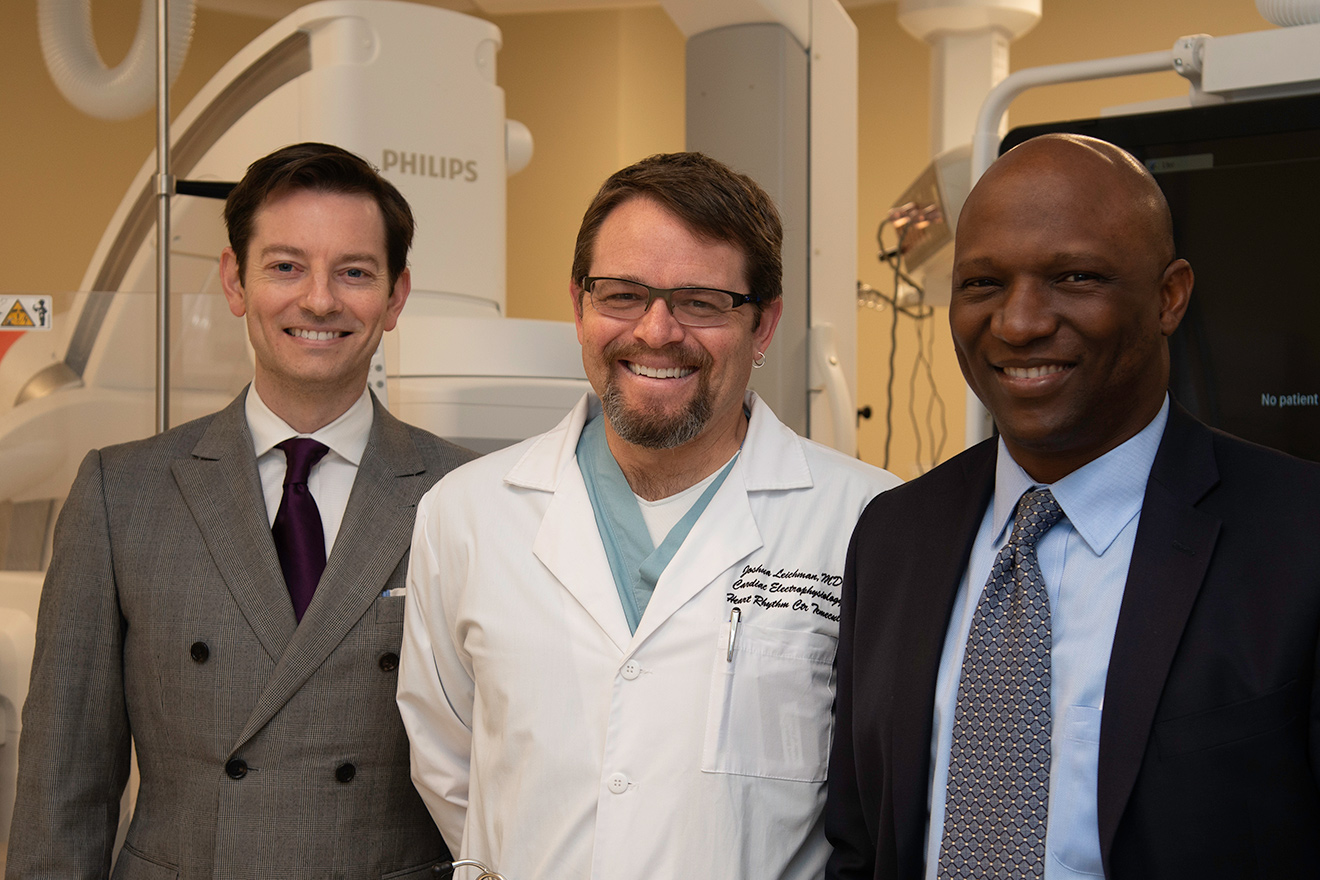 The TVH Electrophysiology Medical Staff Team is Bradley Messenger, MD, Joshua Leichman, MD, Ganiyu Oshodi, MD